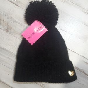 NWT Black Betsey Johnson Beanie Knit Hat Gold Top
